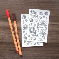 Oak Leaves Coloring Stickers