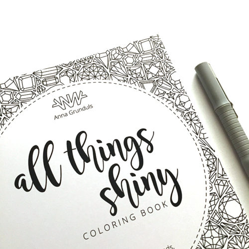 all things shiny coloring book - cover detail