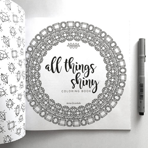 all things shiny coloring book - title page