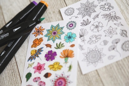 flowers coloring stickers adult coloring stickers to color in adhesive labels floral stickers floral decals anna grunduls design illustrated stickers handmade