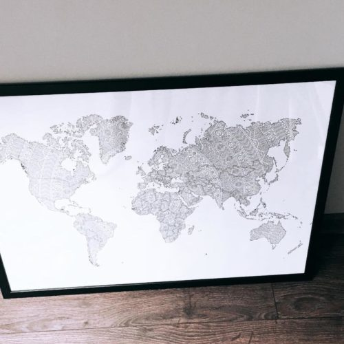 world map coloring poster travel poster coloring map of the world mandala wall art