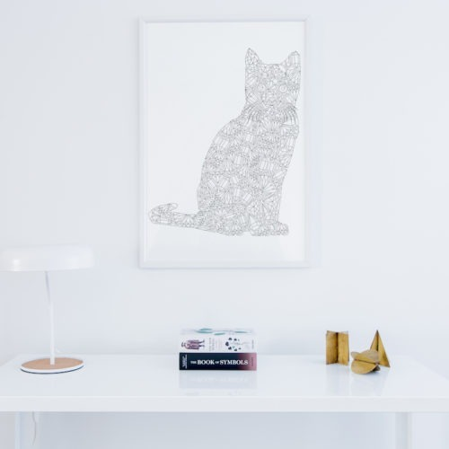 cat coloring page wall art cats poster to color in