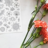 flowers coloring stickers detail