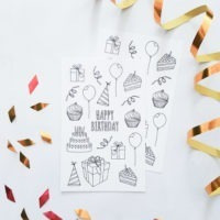 happy birthday coloring stickers