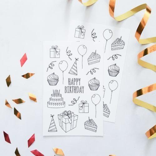 happy birthday coloring stickers