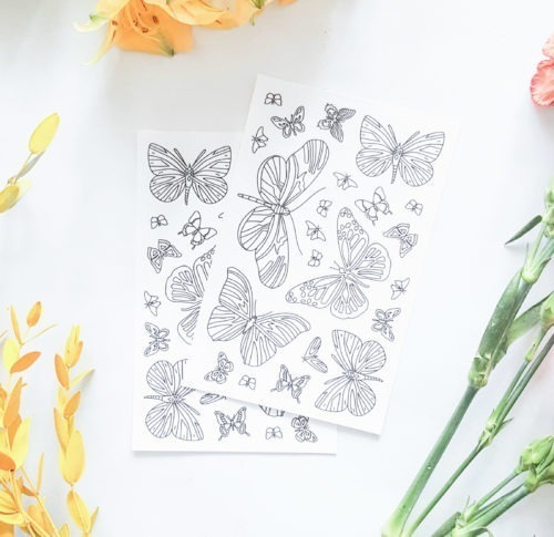 butterflies coloring stickers