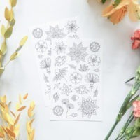 flowers coloring stickers