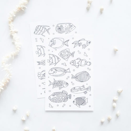 fish coloring stickers