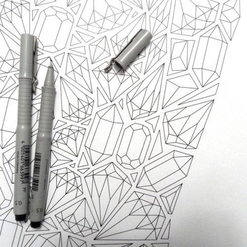 diamonds car coloring poster - close up