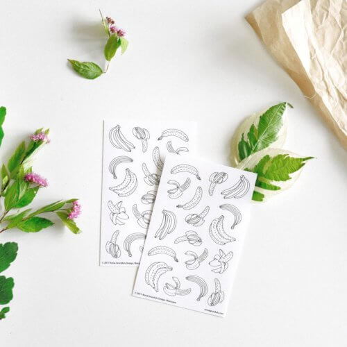 adult coloring stickers with banana fruits