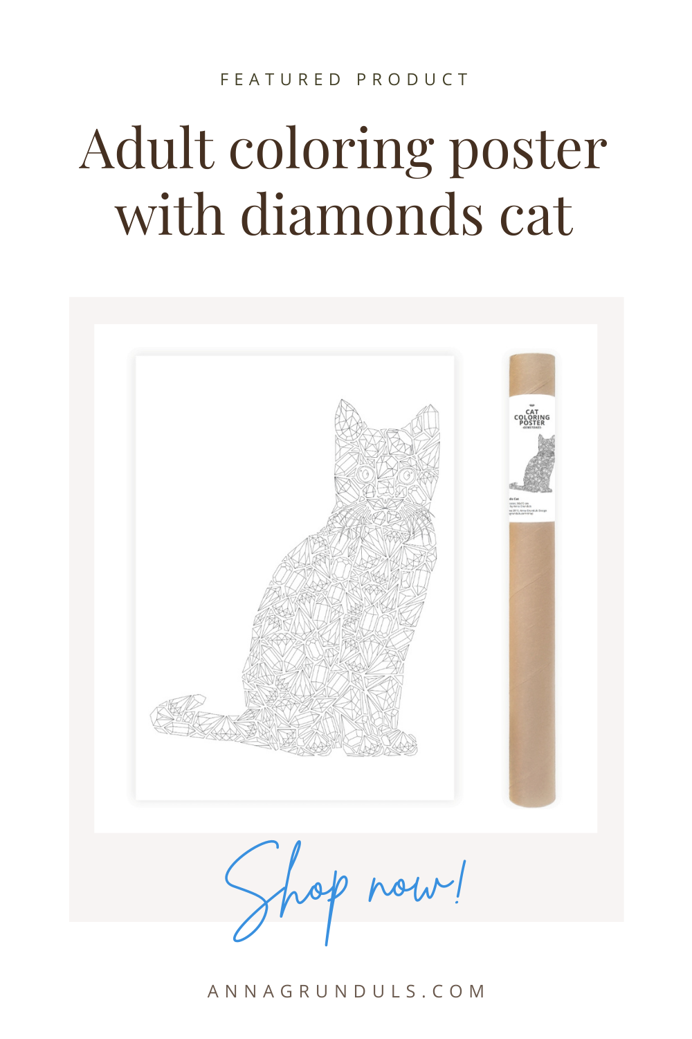 diamonds cat poster for adult coloring pinterest pin