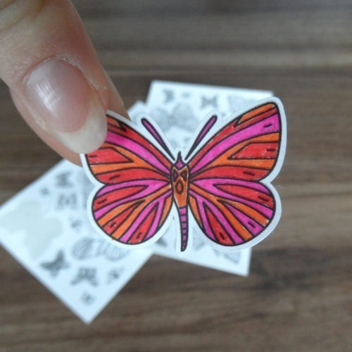 butterfly coloring stickers - detail