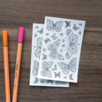 butterflies coloring stickers - scale