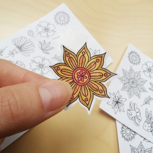 flowers coloring stickers - detail