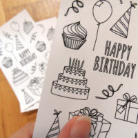 happy birthday colorin stickers - detail