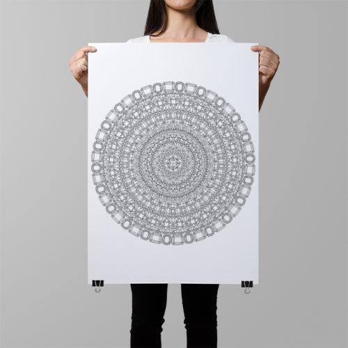 gemstones mandala coloring poster