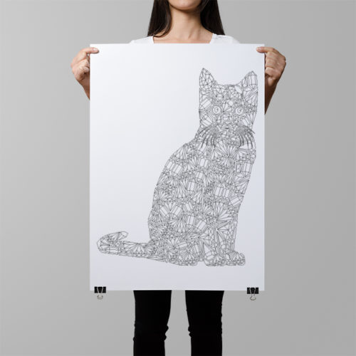 gemstones cat coloring poster