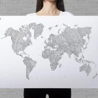 mandala coloring world map