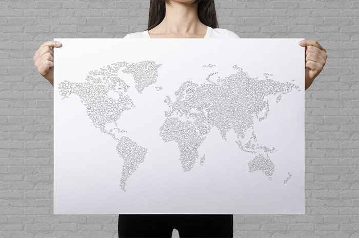 Large world map poster to color in with intricate dots pattern for world map coloring poster bubbles gumiabroncs Gallery