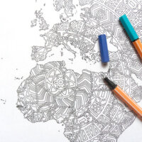 world map mandala coloring page