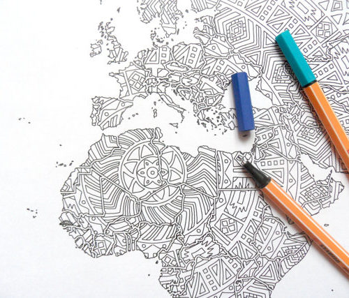 world map mandala coloring page