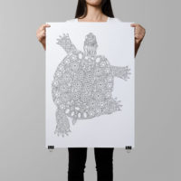 turtle coloring poster gemstones diamonds pattern