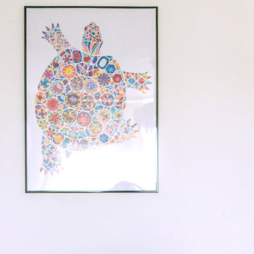 large coloring poster with gemstones turtle