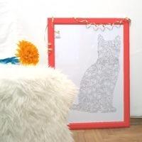 diamonds cat coloring poster