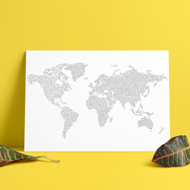 Large world map poster to color in with intricate dots pattern for world map dots coloring page world map poster to color in publicscrutiny Gallery