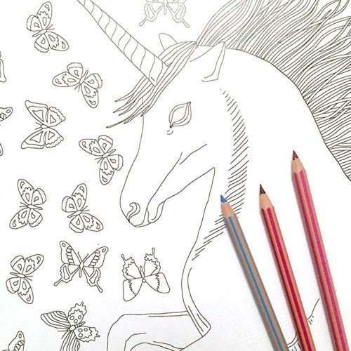 unicorn coloring poster close up