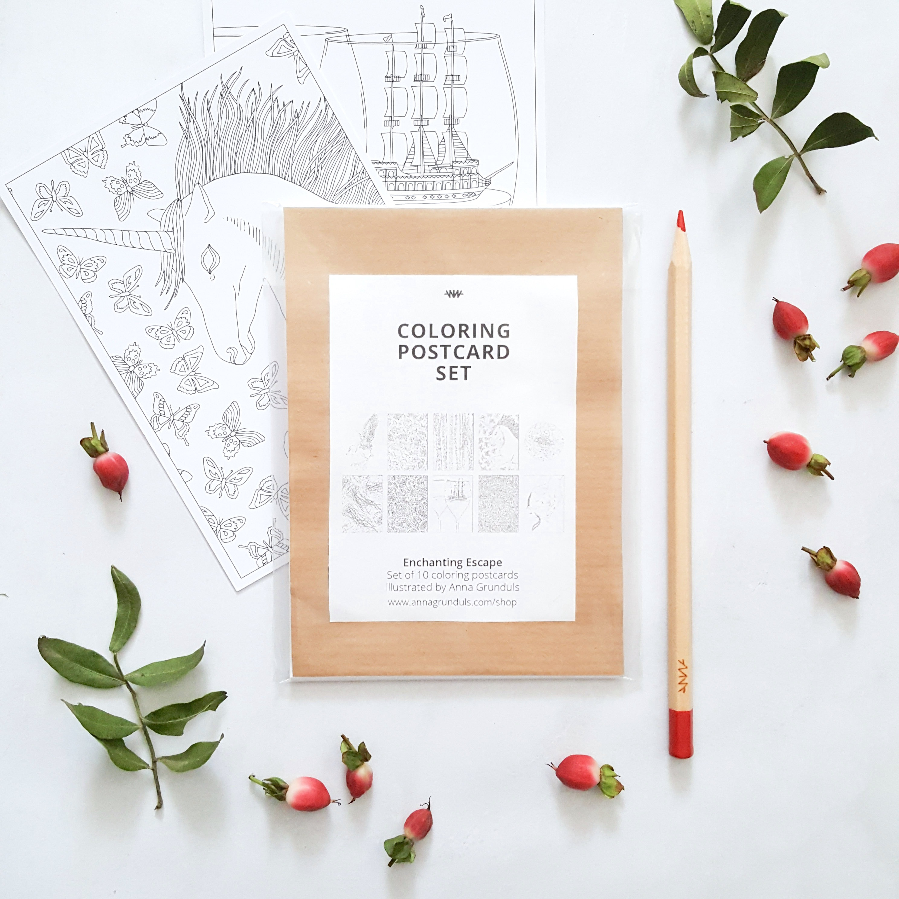 coloring postcard set enchanting escape Anna Grunduls Design