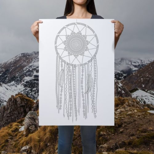 dreamcatcher coloring poster boho mountains