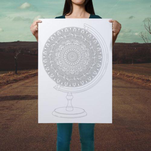 globe coloring poster boho