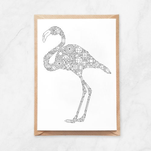 gemstones flamingo coloring postcard