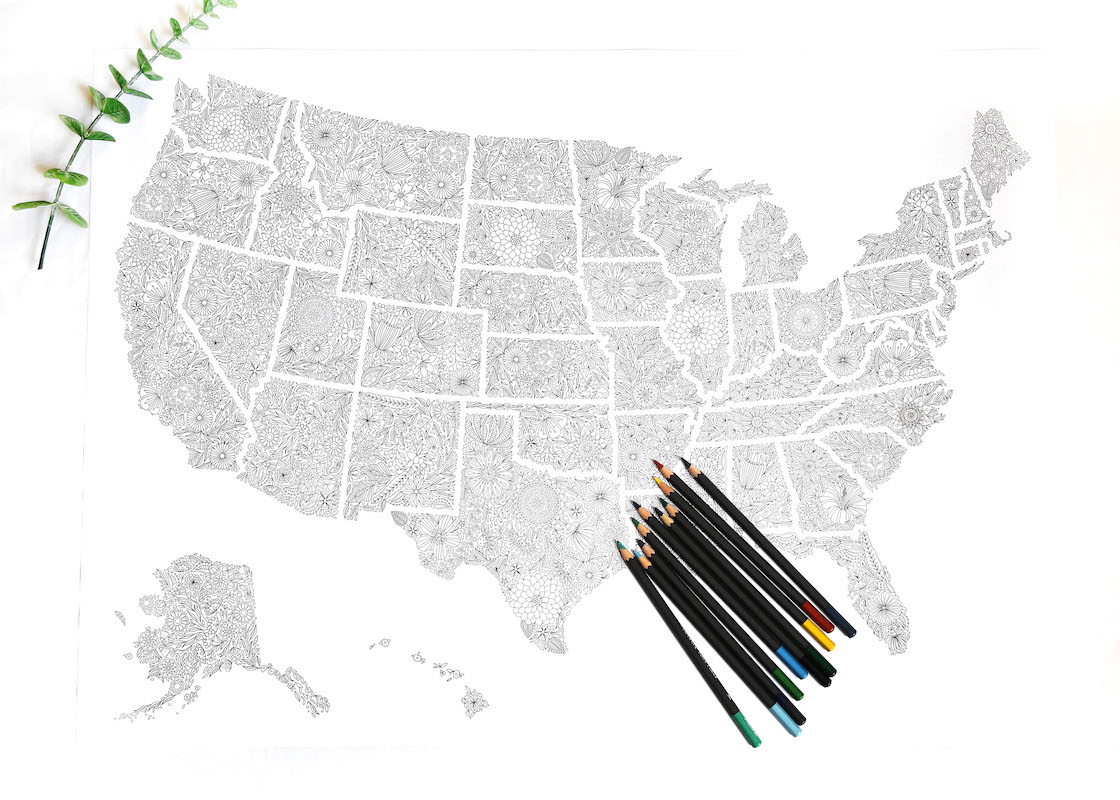 Floral Travel Map or Political Map of USA States to Color In as DIY ...