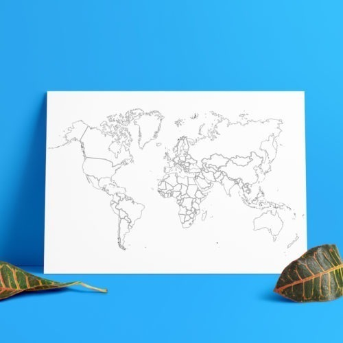 plain outlines coloring poster coloring world map poster