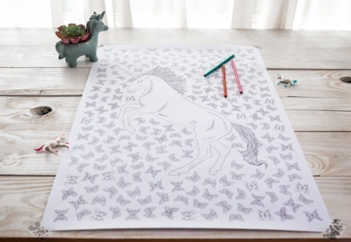 unicorn coloring poster unicorn butterflies kawaii coloring page