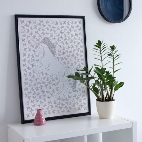 unicorn coloring poster unicorn butterflies kawaii coloring page