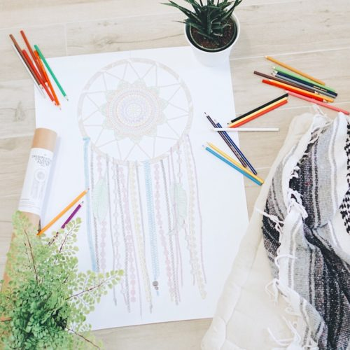 adult coloring dream catcher wall hanging