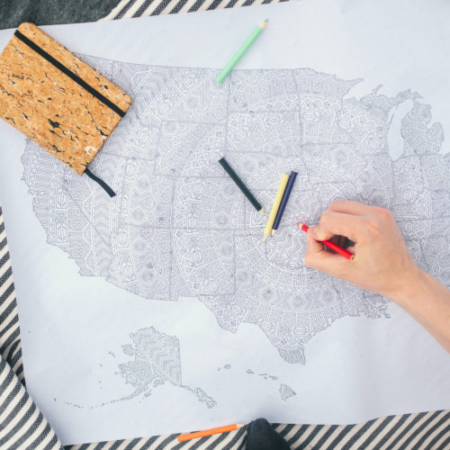 large coloring poster with usa travel map