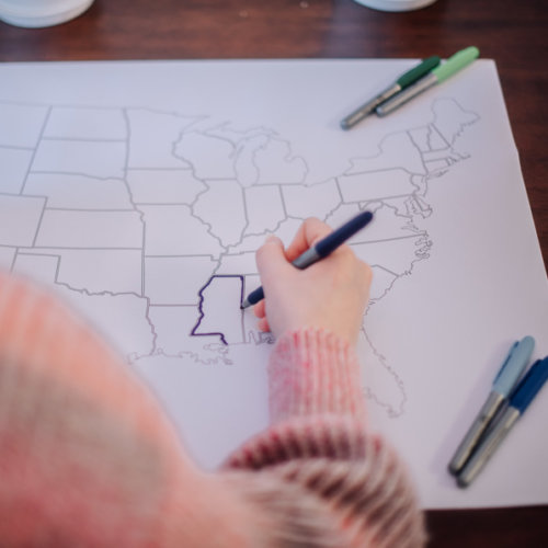 usa travel map for adult coloring