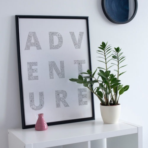 adventure coloring poster typography flowers coloring page for adults