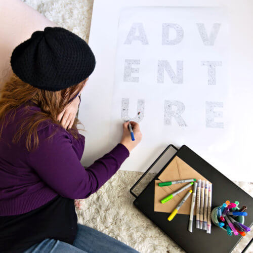 adventure poster for adult coloring