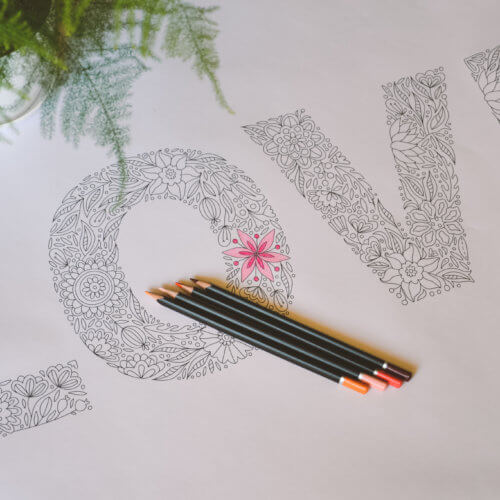 love coloring poster for adult coloring