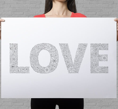 love coloring poster floral