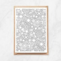 gems pattern coloring postcard
