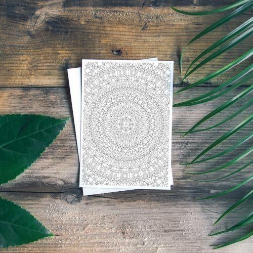 gemstone mandala coloring page postcard
