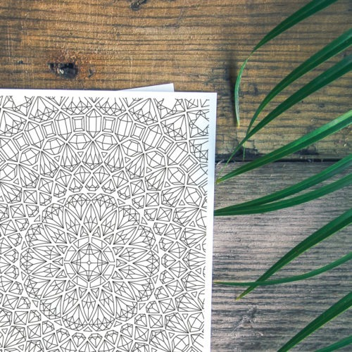 gems mandala coloring postcard for adults to color in