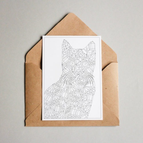 cat coloring postcard with diamonds pattern and gemstone illustration