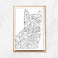 diamonds cat coloring postcard